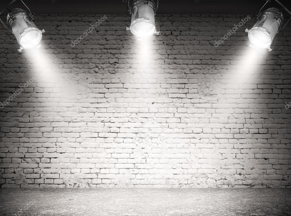 Background with spotlights on wall