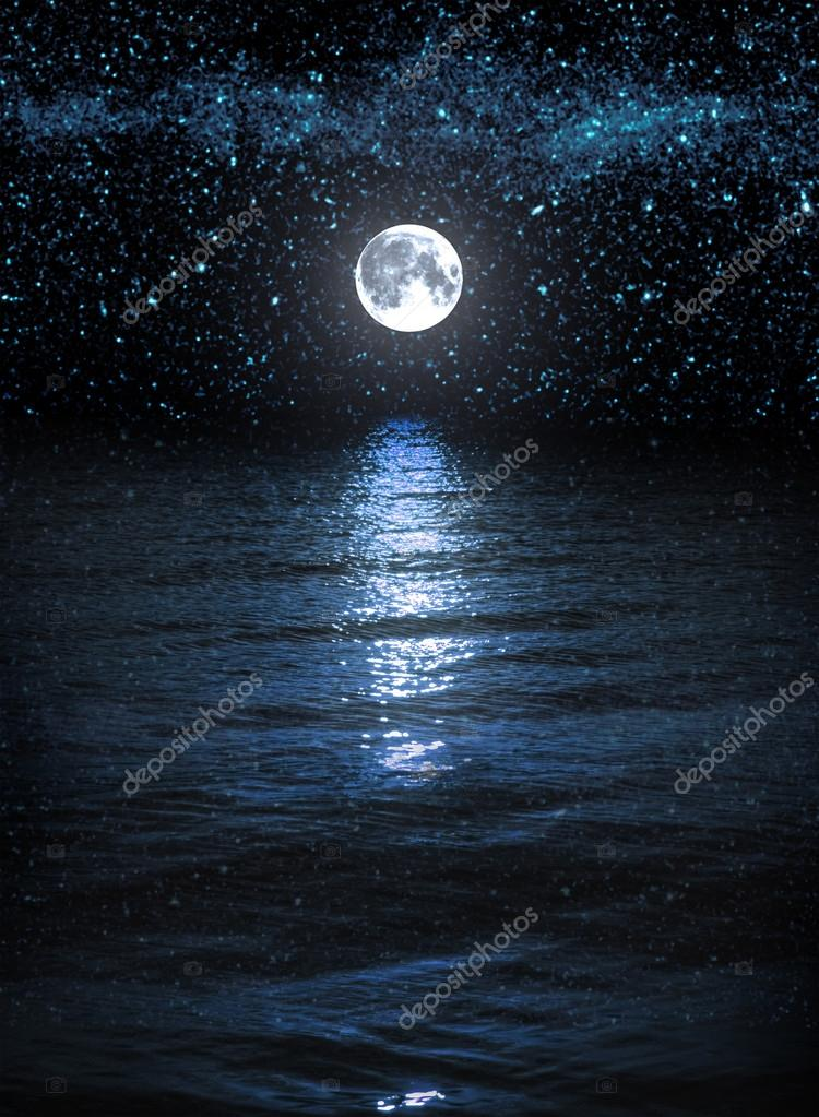 Moon and stars over the water
