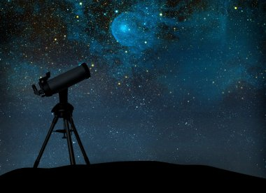 Telescope silhouette against the starry sky.