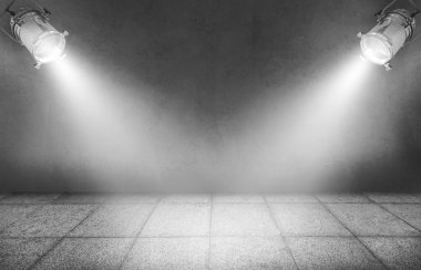 Gray background with spotlights