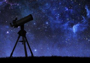 Telescope  against the starry sky