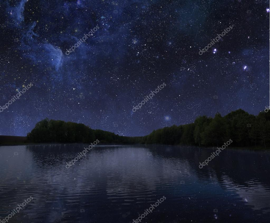 lake at night with sky with stars