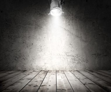wooden floor and wall with spotlight