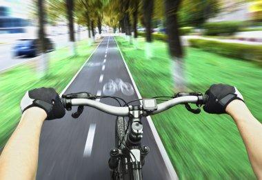 Cyclist riding on bike