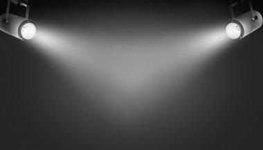 Spotlights on black background