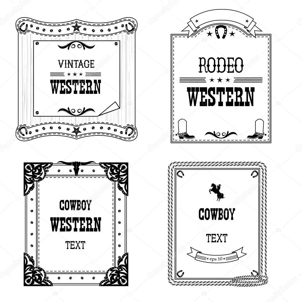 conjunto de etiquetas y marcos de estilo occidental aislado para el ...