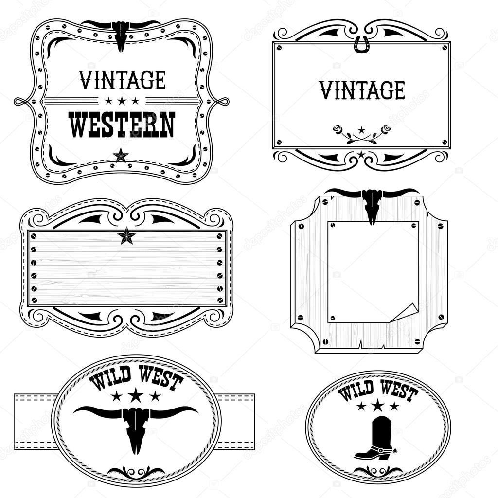 Etiquetas de vaquero occidental, aisladas en blanco para el diseño ...