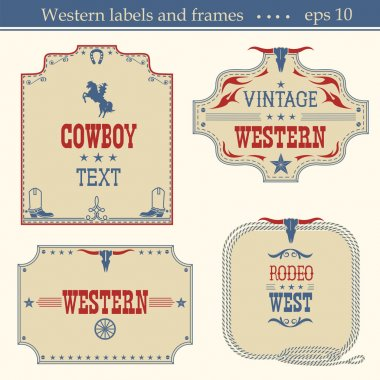 Wild west american labels.Vector vintage boards isolated on whit