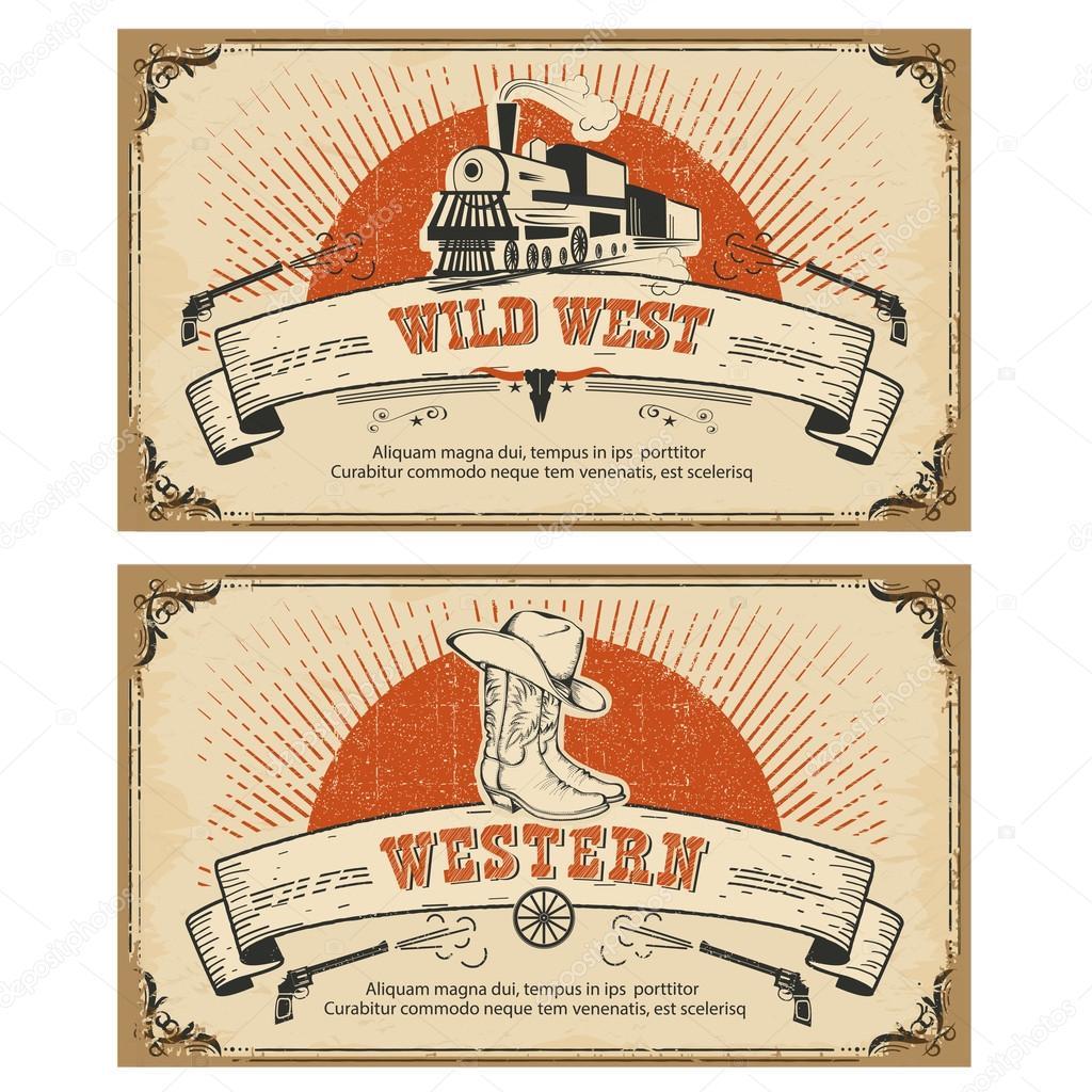 Tarjetas occidental marco vintage. Ilustración de vector — Archivo ...