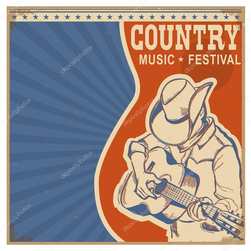 Country Music Wallpaper: Country Music Background Retro Poster With Man In Cowboy