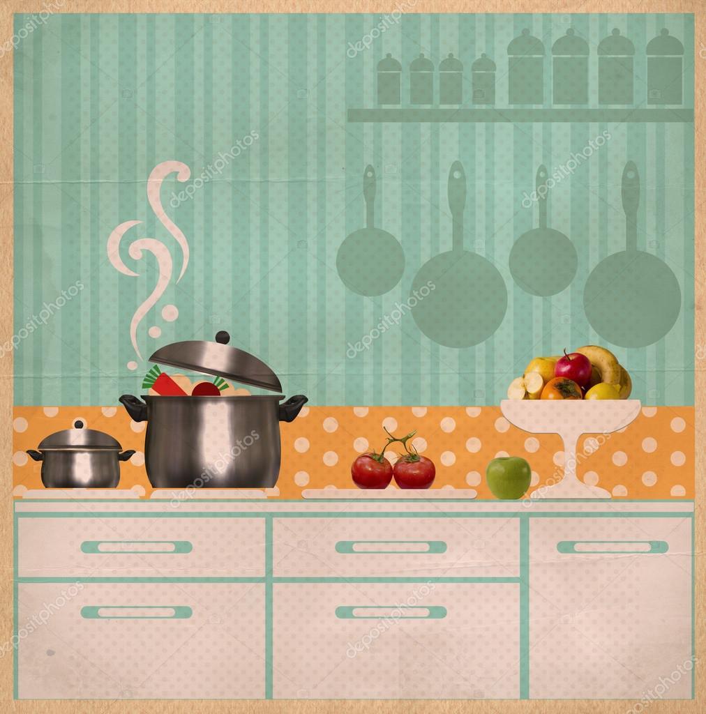 Küche Interieur collage.retro Karte auf Altpapier — Stockfoto ...
