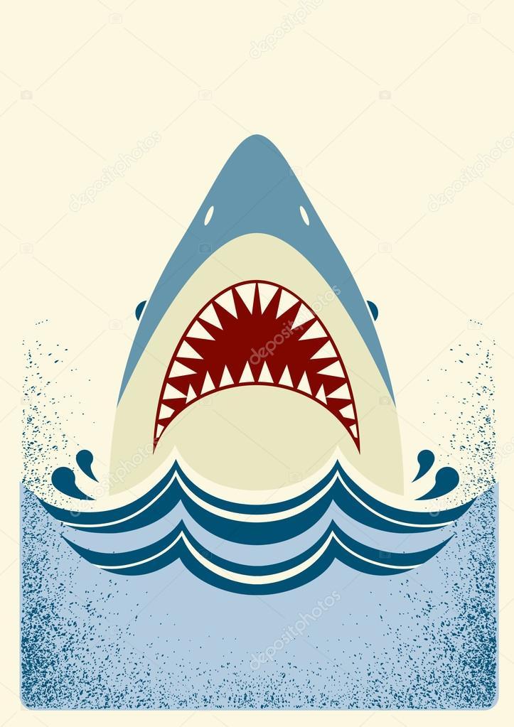 shark jawsvector color illustration � stock vector