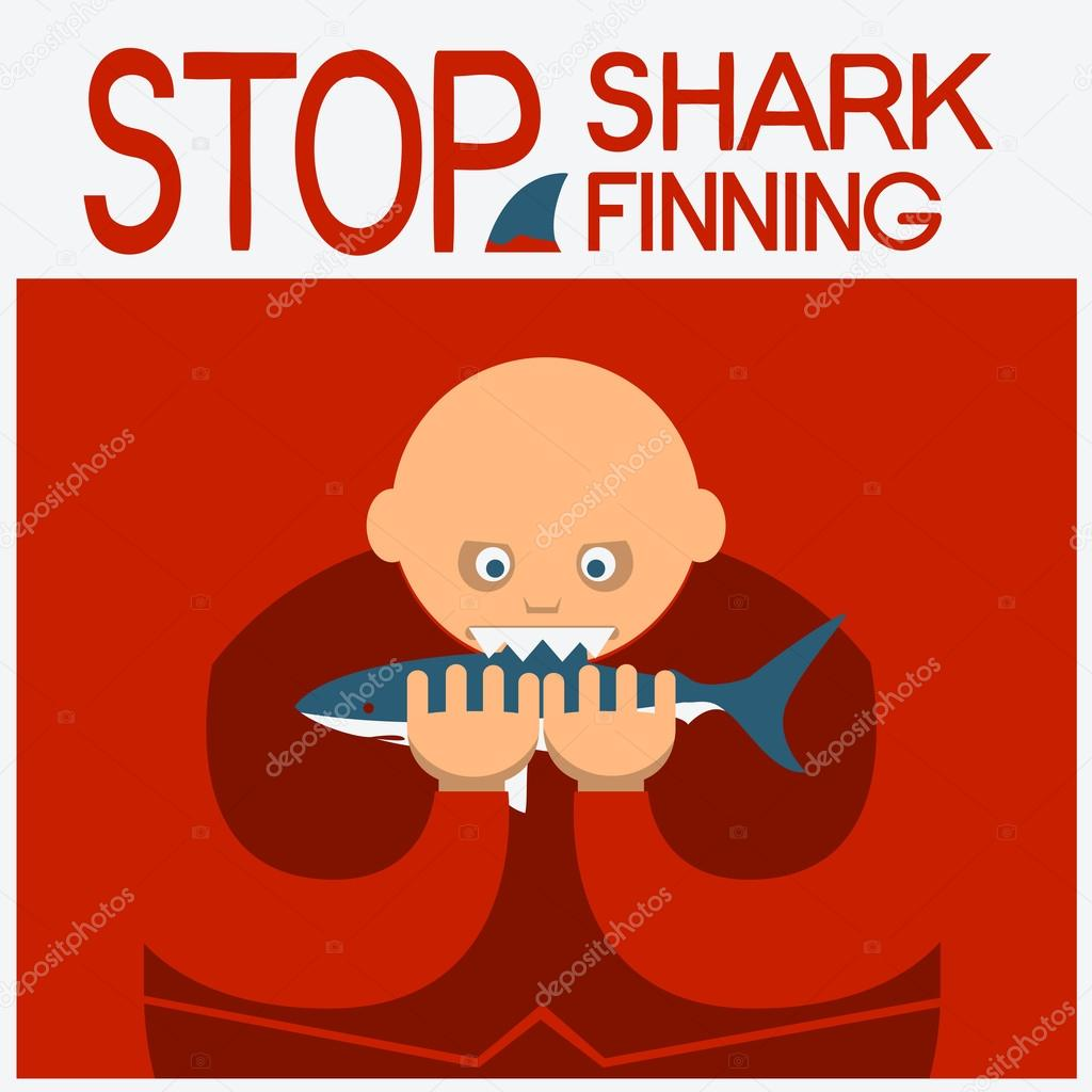Vector Symbol Poster With Man Head Eating Shark Stock Vector