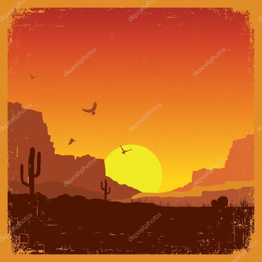 Wild west american desert landscape on old texture