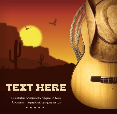 American Country music poster.Western background with guitar and