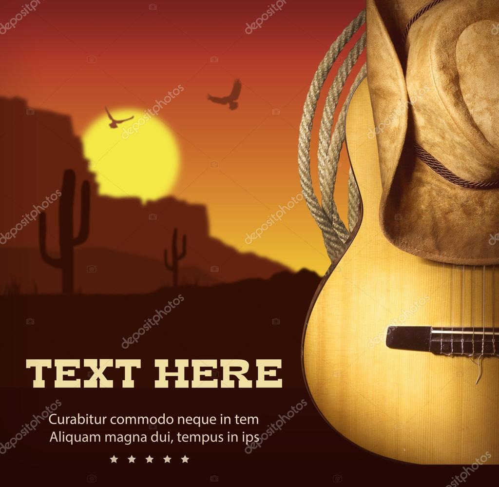 Vintage country music posters | American Country music poster.Western  background with guitar and — Stock Photo © GeraKTV #70460981