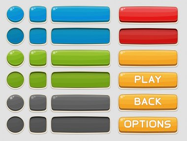 Interface buttons set for games or apps. Vector illustration. Isolated on white stock vector
