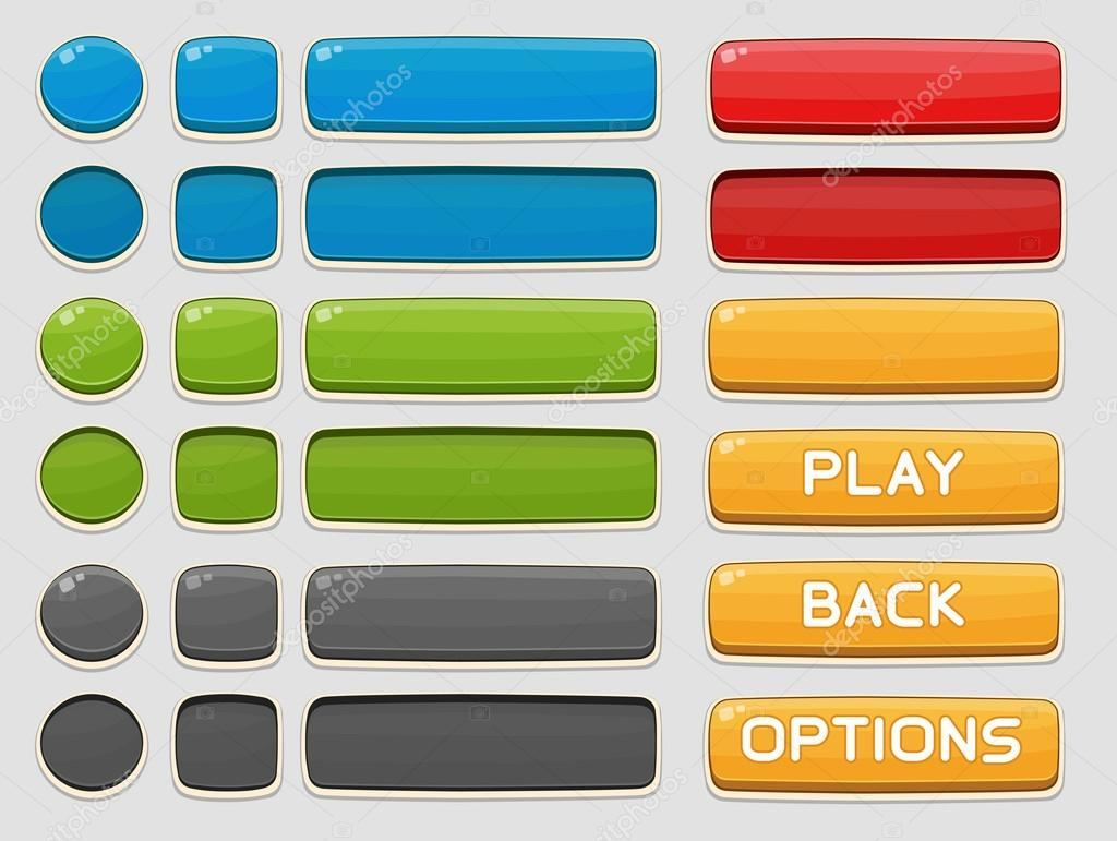 Interface buttons set for games or apps