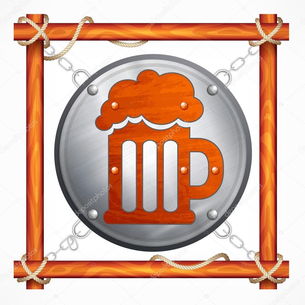 Marco de madera para bar de cerveza — Archivo Imágenes Vectoriales ...