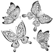 Photo Vector set of black and white calligraphic butterflies isolated on white background. Tattoo design