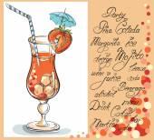 Fotografie Vektor handgezeichnete Illustration eines tropischen roten Erdbeer-Daiquiri-Cocktails. Einladungskarte für Cocktailpartys.