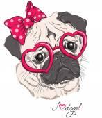 Divat-portré mopszli kutya csípő szívét szemüveg elszigetelt fehér. Vektor kézzel rajzolt ábra