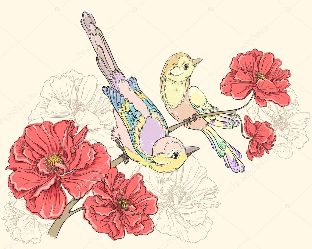 Birds sitting on blooming roses. Flower background. Vector hand drawing illustrations
