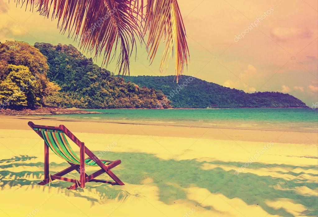 Tropical paradise. Seaside view of the tropical island with beac