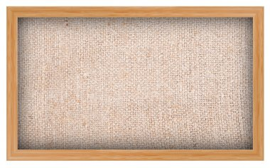 Wooden frame with burlap background