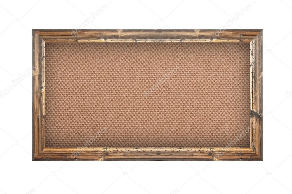 Antiguo marco de madera con fondo de arpillera — Foto de stock ...