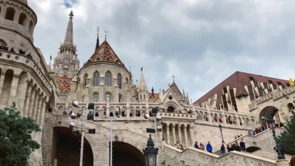 BUDAPEST, HUNGARY - 7 MAY, 2019: Fisherman Bastion in historic center of Budapest,famous tourist attraction filmed in spring