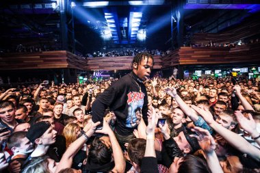 Travis Scott performing in Moscow