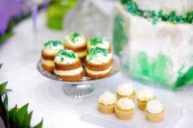 Three delicious green cupcakes