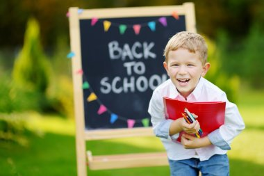 Little boy is going back to school