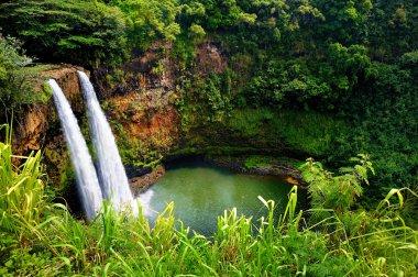 Twin Wailua waterfalls on Kauai