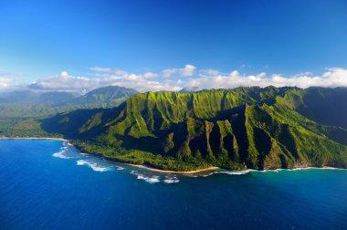 Beautiful aerial view of Na Pali coast, Kauai, Hawaii stock vector