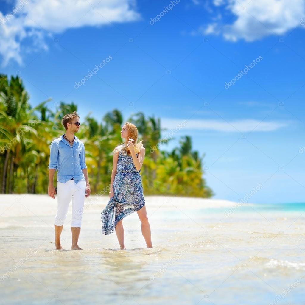Young couple on tropical island
