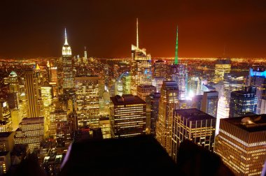 Aerial view of Manhattan at night