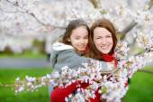 Mother and  child in blooming  garden