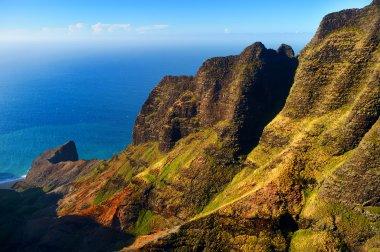 Beautiful aerial view of spectacular Na Pali coast, Kauai, Hawaii stock vector