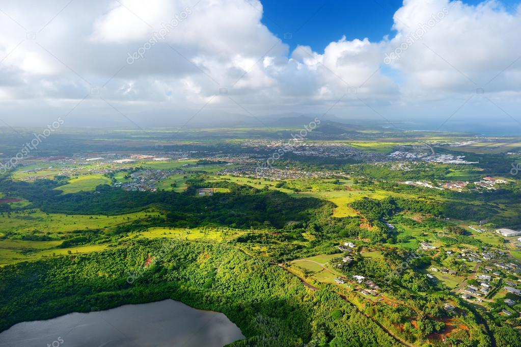 aerial view of spectacular jungles, Kauai