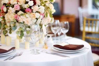 table set for festive event
