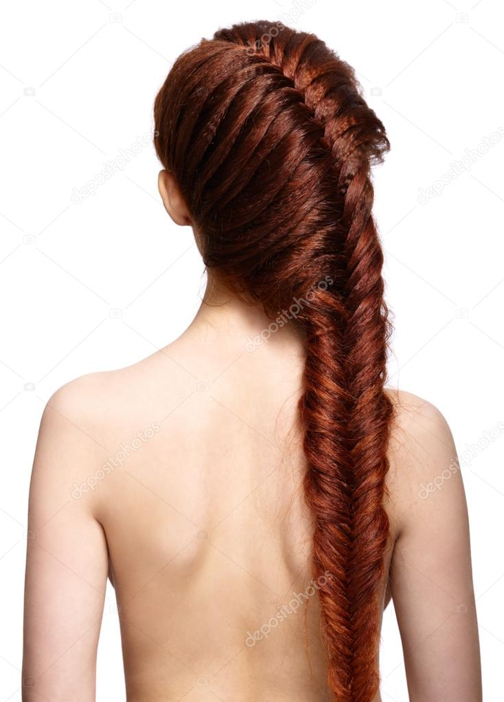 Woman With Ginger Braids Hair Do From Back Side Isolated On Whit