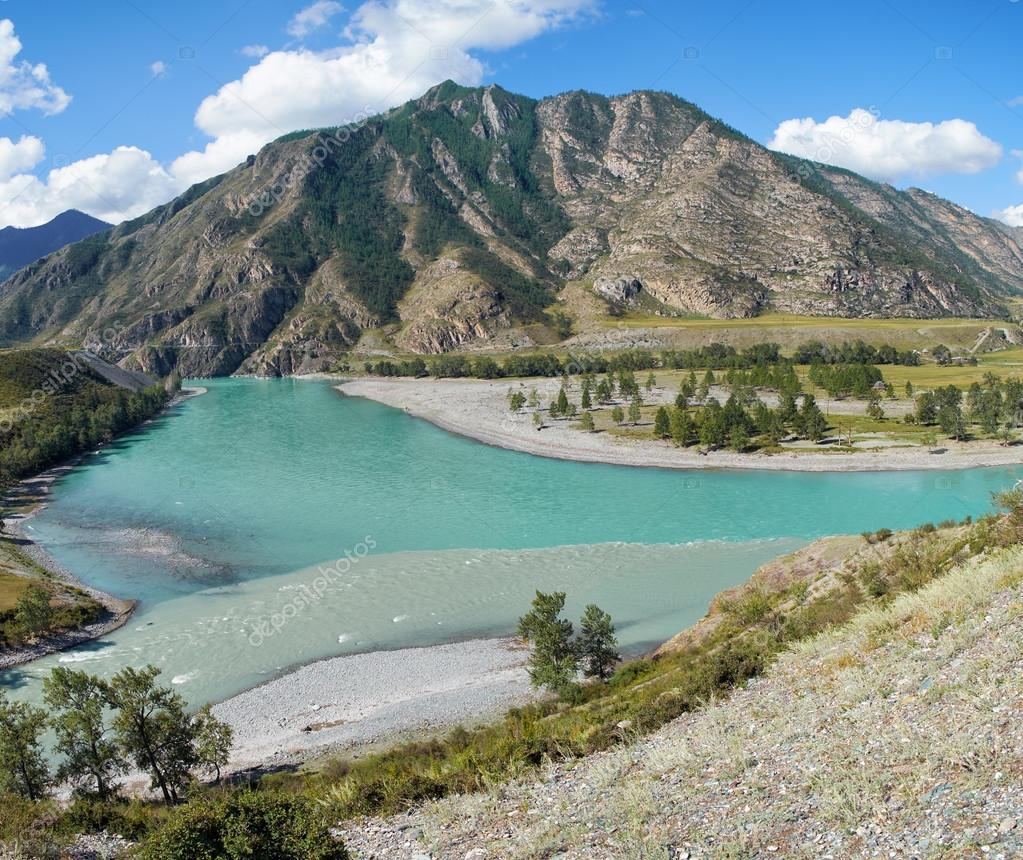 Place of the confluence of the rivers Katun and Chuya in Altai m