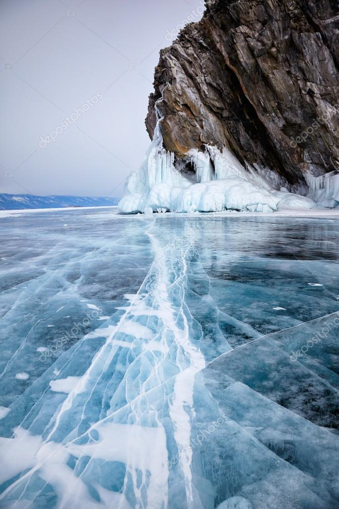 Rocks on winter Baikal lake