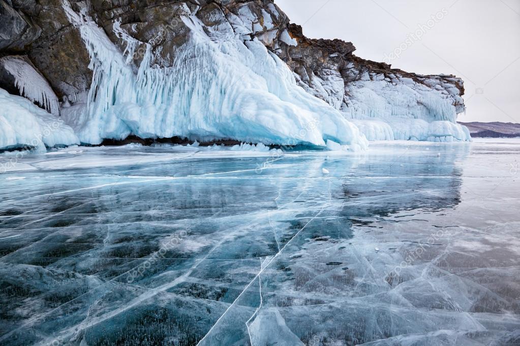 Rocks on winter Baikal lake