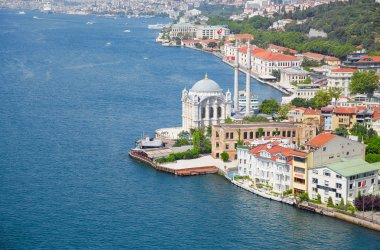 The view of Ortakoy Mosque from the Bosphorus bridge,  Istanbul