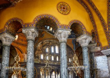 The Interior of the Upper Gallery in Hagia Sophia. Istanbul