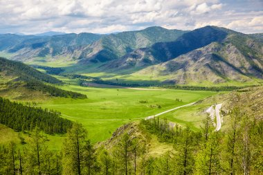Altai landscapes from mountain pass Chike-Taman