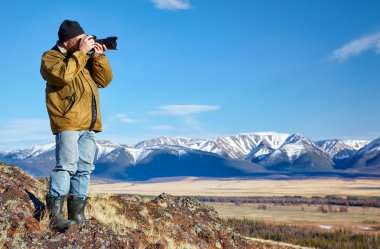Photographer in Altai mountains